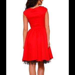 Hearts & Roses London Dresses - Red & Black Chiffon-Trim Sweetheart Dress L US 10
